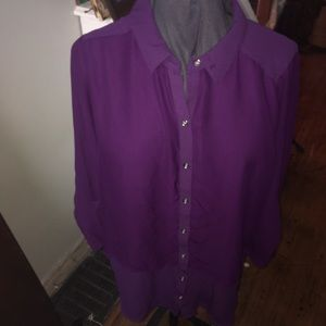 Lane Bryant layered sheer button down blouse